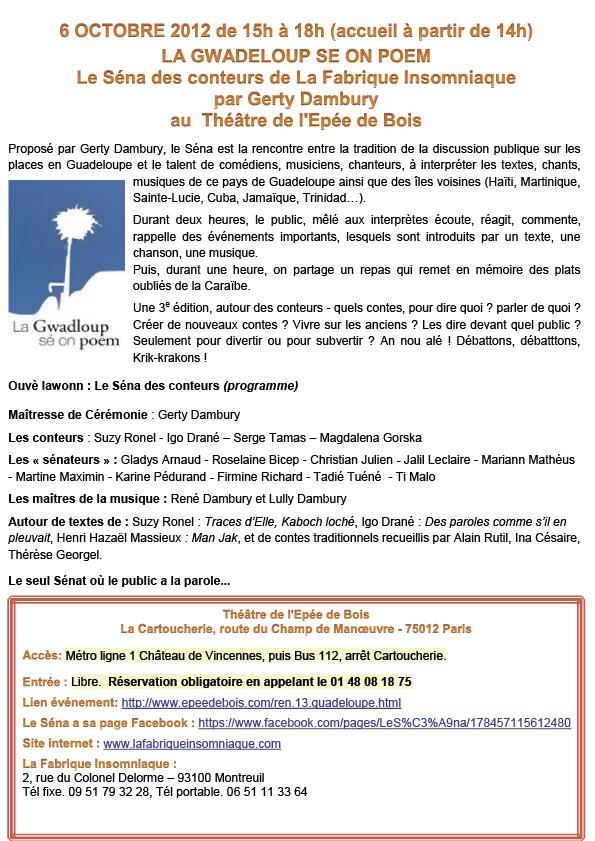 Le Sena des Conteurs Octobre 2012