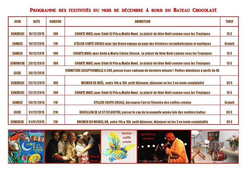 Programme Festivités Decembre2015 Bateau Chocolate